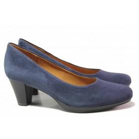 Дамски обувки на среден ток - естествен велур - сини - EO-17124