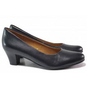 Дамски обувки на среден ток - естествена кожа - тъмносин - EO-17169