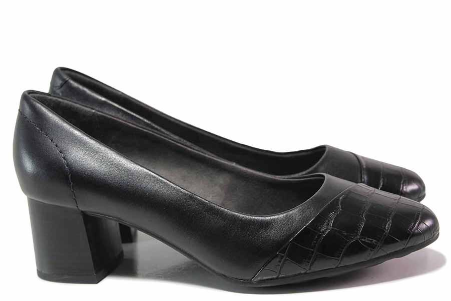 Дамски обувки на среден ток - естествена кожа в съчетание с еко-кожа - черни - EO-17171