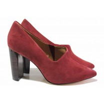Дамски обувки на висок ток - естествен велур - бордо - EO-17136