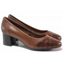 Дамски обувки на среден ток - естествена кожа в съчетание с еко-кожа - кафяви - EO-17172