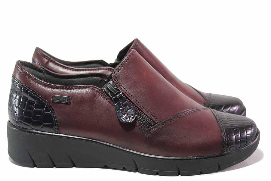 Равни дамски обувки - естествена кожа в съчетание с еко-кожа - бордо - EO-17174