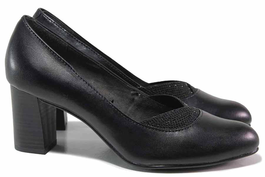 Дамски обувки на висок ток - естествена кожа - черни - EO-17176