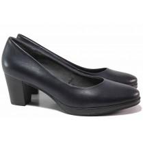 Дамски обувки на среден ток - естествена кожа - тъмносин - EO-17175