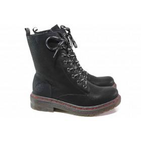 Дамски боти - висококачествена еко-кожа - черни - EO-17264