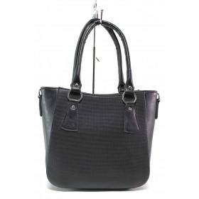 Дамска чанта - висококачествена еко-кожа - черни - EO-17519