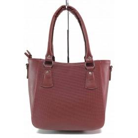 Дамска чанта - висококачествена еко-кожа - бордо - EO-17548