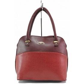 Дамска чанта - висококачествена еко-кожа - бордо - EO-17551