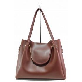 Дамска чанта - висококачествена еко-кожа - бордо - EO-17559