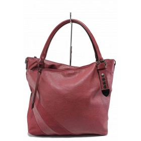Дамска чанта - висококачествена еко-кожа - бордо - EO-17566