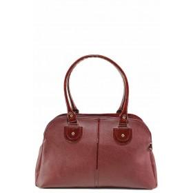 Дамска чанта - висококачествена еко-кожа - бордо - EO-17586