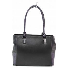 Дамска чанта - висококачествена еко-кожа - черни - EO-17591
