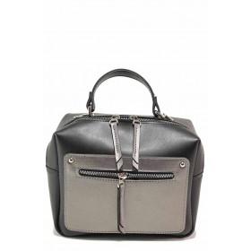 Дамска чанта - висококачествена еко-кожа - черни - EO-17602