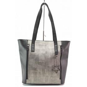 Дамска чанта - висококачествена еко-кожа - черни - EO-17609