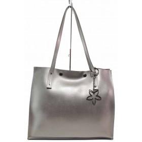 Дамска чанта - висококачествена еко-кожа - сиви - EO-17611