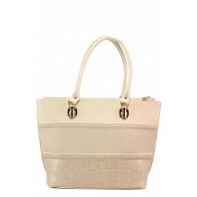 Дамска чанта - висококачествена еко-кожа - бежови - EO-17676