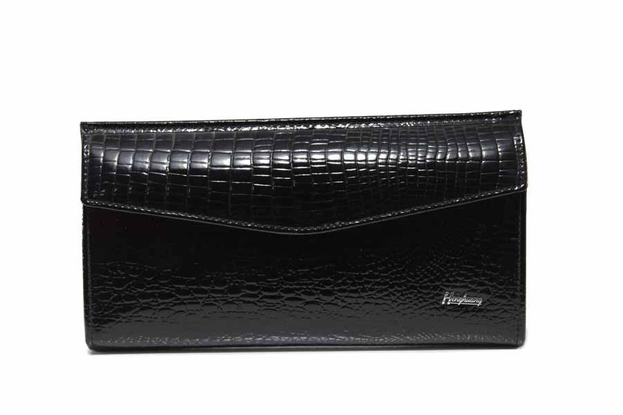 """Дамско портмоне - естествена кожа с """"кроко"""" мотив - черни - EO-17703"""