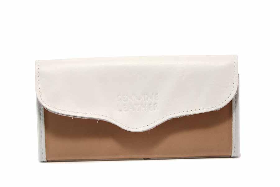 Дамско портмоне - естествена кожа - бели - EO-17706