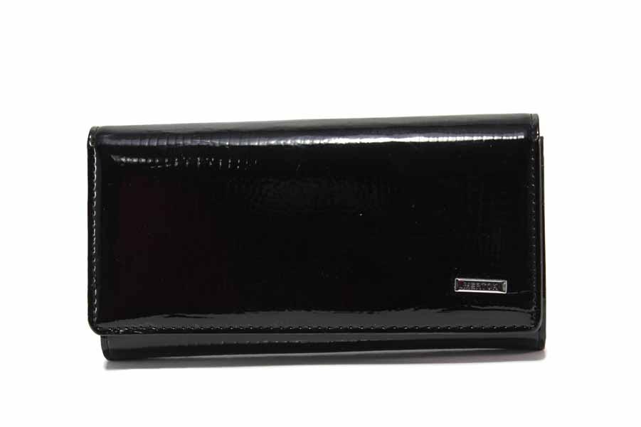 Дамско портмоне - естествена кожа-лак - черни - EO-17710