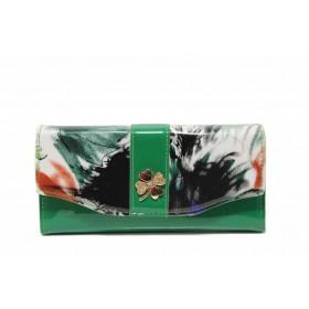 Дамско портмоне - висококачествена еко-кожа - зелени - EO-17714