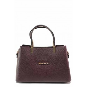 Дамска чанта - висококачествена еко-кожа - бордо - EO-18410