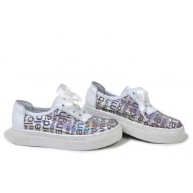 Равни дамски обувки - естествена кожа - бели - EO-18272