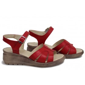 Дамски сандали - естествена кожа - червени - EO-18543