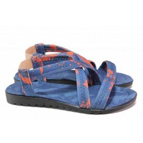Дамски сандали - висококачествен текстилен материал - сини - EO-17959