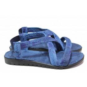 Дамски сандали - висококачествен текстилен материал - сини - EO-17961