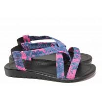 Дамски сандали - висококачествен текстилен материал - сини - EO-17963