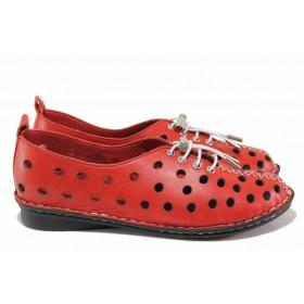Равни дамски обувки - естествена кожа - червени - EO-18011