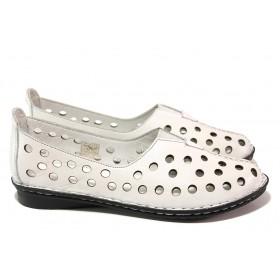 Равни дамски обувки - естествена кожа - бели - EO-18014