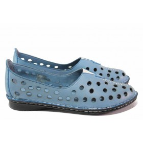 Равни дамски обувки - естествена кожа - сини - EO-18013