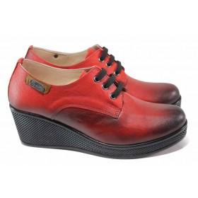 Дамски обувки на платформа - естествена кожа - червени - EO-18025