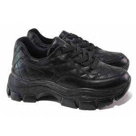 Дамски маратонки - висококачествена еко-кожа - черни - EO-18078