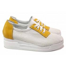 Дамски обувки на платформа - естествена кожа - бели - EO-18071