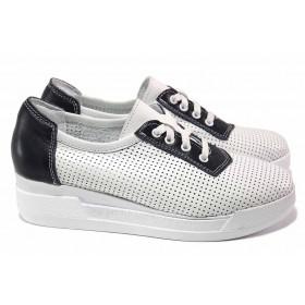 Дамски обувки на платформа - естествена кожа - бели - EO-18070