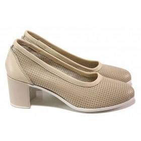 Дамски обувки на среден ток - естествена кожа - бежови - EO-18075