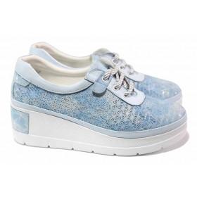 Дамски обувки на платформа - естествена кожа - светлосин - EO-18096
