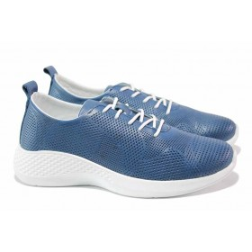 Равни дамски обувки - естествена кожа с перфорация - сини - EO-18104