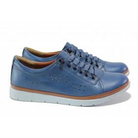Равни дамски обувки - естествена кожа - светлосин - EO-18103