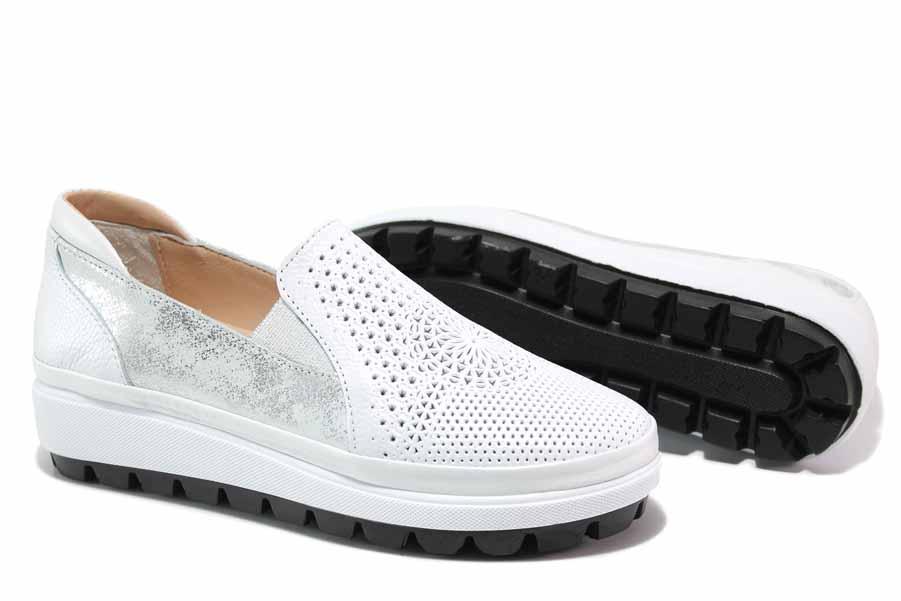 Равни дамски обувки - естествена кожа - бели - EO-18113