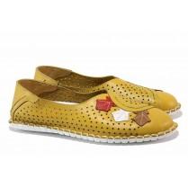 Равни дамски обувки - естествена кожа с перфорация - жълти - EO-18115