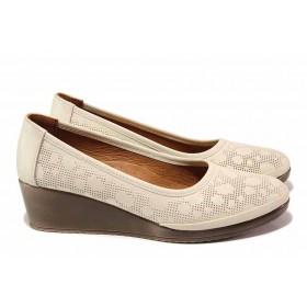 Дамски обувки на платформа - естествена кожа - бежови - EO-18112