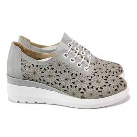 Дамски обувки на платформа - естествена кожа - сиви - EO-18135
