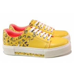 Дамски спортни обувки - висококачествена еко-кожа - жълти - EO-18130