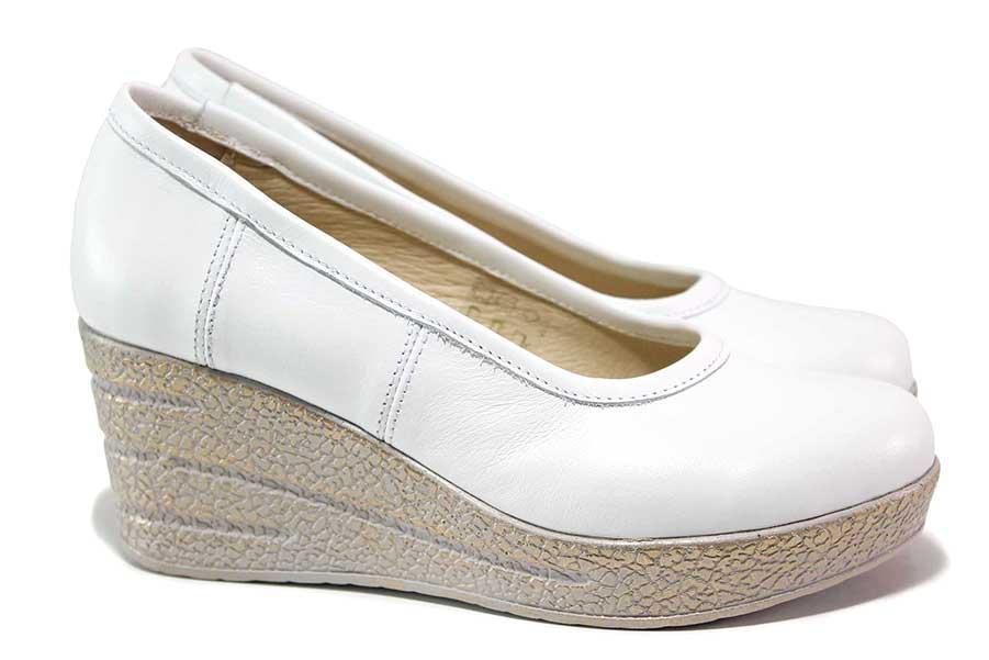 Дамски обувки на платформа - естествена кожа - бели - EO-18163