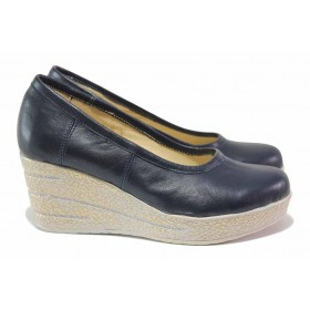Дамски обувки на платформа - естествена кожа - сини - EO-18164