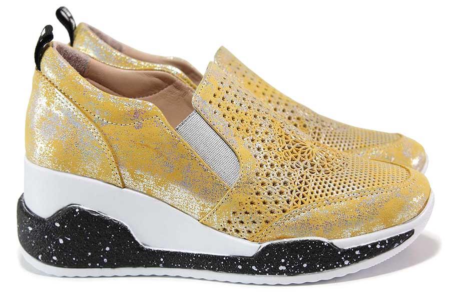 Дамски спортни обувки - естествена кожа с перфорация - жълти - EO-18282