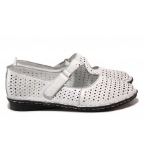 Равни дамски обувки - естествена кожа с перфорация - бели - EO-18281